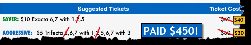 Haskell winning ticket paid $450!